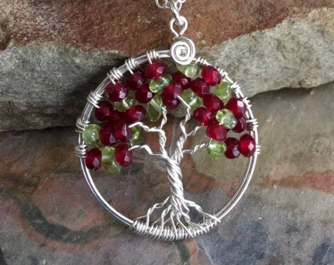 Garnet/Peridot  Tree of Life Pendant Necklace-Wire Wrapped Garnet Necklace - January Birthstone, Gemstone Necklace