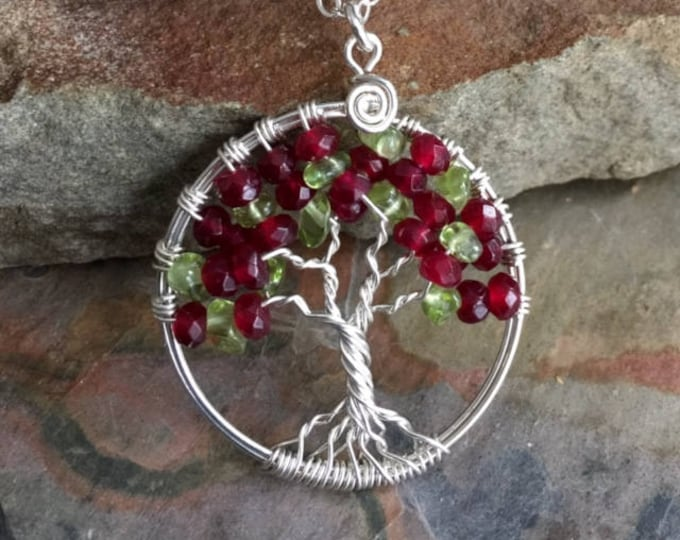 Garnet/Peridot Tree of Life Sterling Silver Necklace,Wire Wrapped Garnet Necklace,January Birthstone Necklace,Garnet Necklace,Peridot