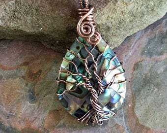 Abalone Necklace, Wire Wrapped Abalone Pendant,FRAMELESS Abalone Tree of Life Necklace  Leather,Abalone Necklace Copper,Paua Shell Jewelry