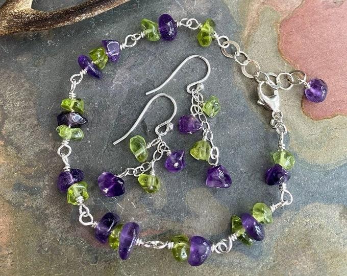 Amethyst/Peridot Bracelet in Sterling Silver,Linked Wire Wrapped Amethyst and Peridot Bracelet Earrings, February Birthstone Jewelry