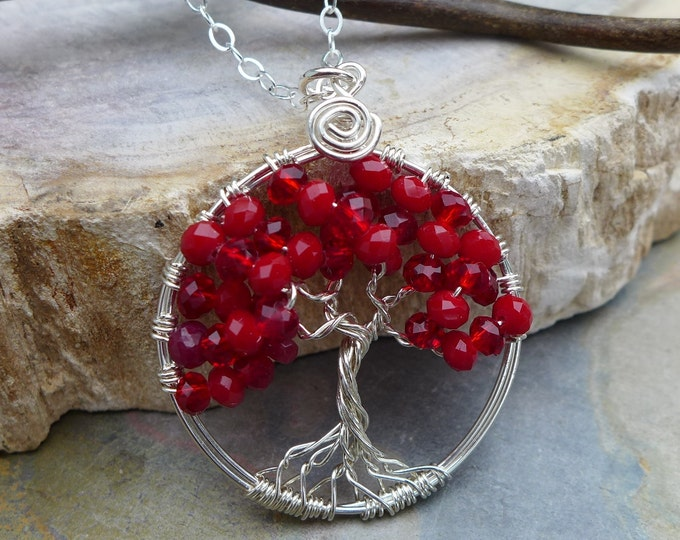 Sterling Silver Petite/Small Wire Wrapped Tree of Life Pendant Necklace- Red Quartz Tree of Life,July Birthstone,Red Quartz Pendant