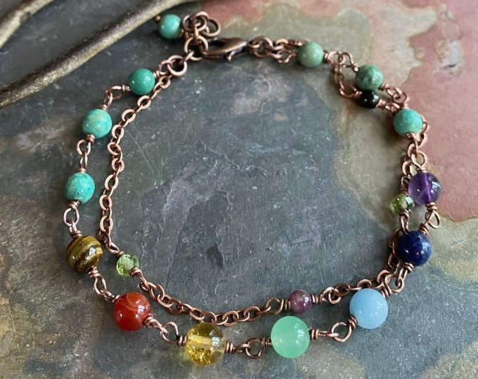 Wire Wrapped 7 Chakra Healing Bracelet, Meditation Bracelet, Chakra Link  Bracelet Protection, Energy, Healing Gemstone Bracelet.