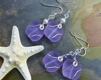 Periwinkle Sea Glass Earrings in Sterling Silver Earwires-Lavender Recycled Glass Earrings Glass Earrings, Beach Weddings,Sea Glass earrings