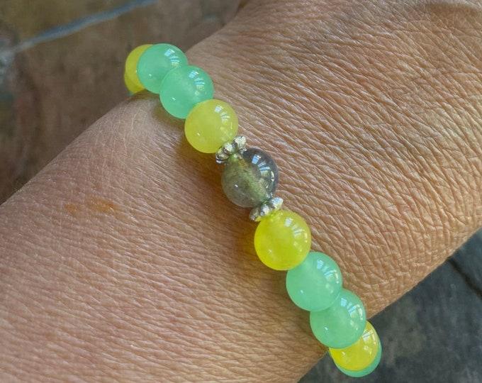 Jade Bracelet, Yellow Green Jade Jadeite bracelet, Jade gemstone Adjustable bracelet,Yoga Adjustable Stretch Bracelet, Healing gemstone