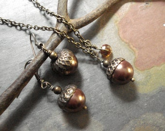 Acorn Mocha Brown Brass Necklace and  Earring Set -  Fall Autumn Nature inspired