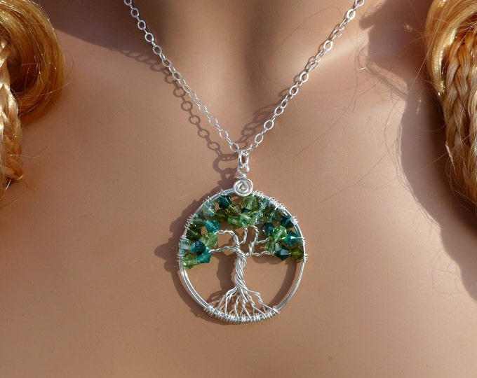 Sterling Silver Petite-Mini-Green,Crystal Tree of Life Pendant,Wire Wrapped Tree of life Green Crystal Necklace,May & August Birthstone Tree