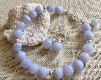 Blue Lace Agate Bracelet Adjustable,Agate Bracelet in  Silver,Yoga Healing Beaded Bracelet, Turquoise Blue Lace Agate Silver Bracelet
