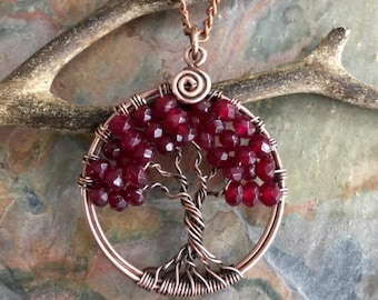 Garnet Necklace,Garnet tree of Life Necklace Antiqued Copper, Wire Wrapped Petite/Small Garnet Tree of Life, January Birthstone Tree of Life