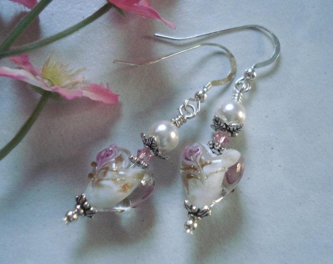 Lampwork Pink Heart Floral Pearl Silver Earrings /Bridal Jewelry, Bridesmaid gift, Floral Earrings,Glass beaded Earrings