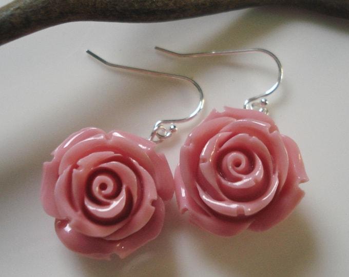 Light Pink Coral Carved Rose flower Silver Earrings-Bridal/Wedding, Bridesmaid gift, Pink Floral Earrings, Bridal Earrings,