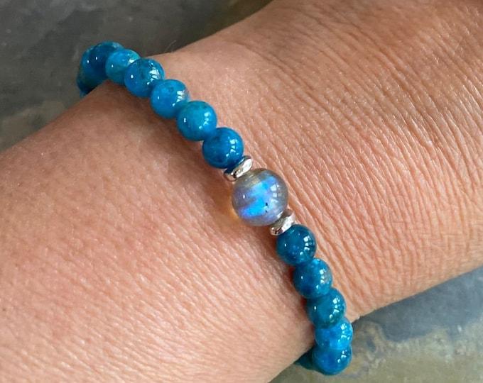 Natural Apatite Labradorite Bracelet,December Birthstone Bracelet,Labradorite Apatite Stretch Bracelet,Yoga Bracelet, Healing gemstone