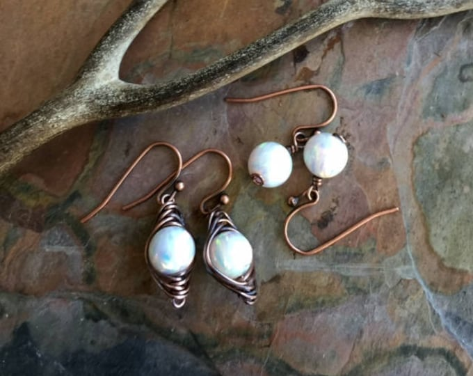 white Opal earrings in Antiqued Copper ,Simulated Opal dangling earrings in Copper wire,Synthetic White Opal earrings,Mothers Day Gift