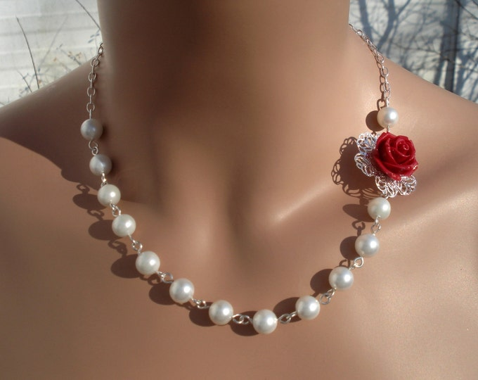 Red Rose Flower Pearl Necklace,Rose Pearl Drop Earrings,Botanical Flower Necklace,Bridal/Bridesmaid Red Rose Pearl Necklace/Earrings
