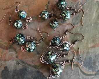 Abalone Earrings, Abalone Dangle/Drop Earrings in Copper,Abalone Mosaic Copper Earrings,Abalone Shell Earrings, Abalone Tree of Life Pendant