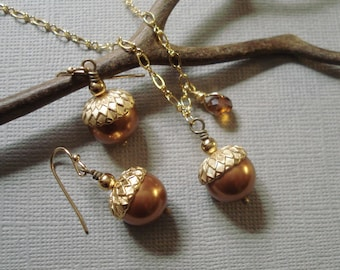 Acorn Copper Gold Necklace and  Earring Set - Fall - Autumn, Fall Wedding Jewelry,