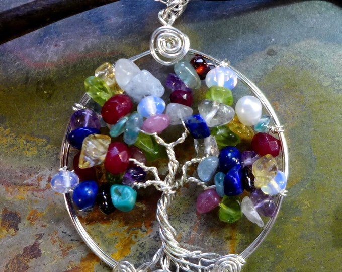 Custom/Personalized Tree of Life Pendant,Family Tree of Life Pendant with sterling silver Chain, Mother's Day Gifts,Mothers Day Tree of life