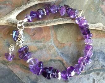 Amethyst Bracelet, Wire Wrapped Amethyst Bracelet,February Birthstone Bracelet, Amethyst Jewelry, Amethyst Necklac,Raw Amethyst Gem Bracelet