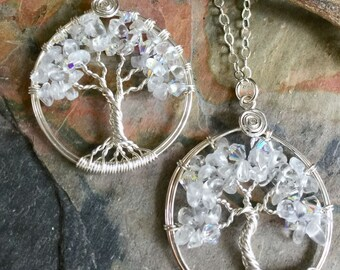 April Birthstone Tree of life Necklace,Clear Quartz Tree of Life  Necklace with sterling silver chain- April Birthstone Necklace,