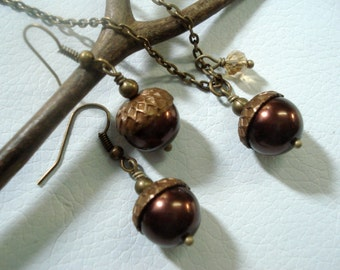 Acorn Dark Moch Brown Vintaj  Brass Necklace and Earring Set - Fall/ Autumn Bridal/Bridesmaid Jewelry, Fall Jewelry