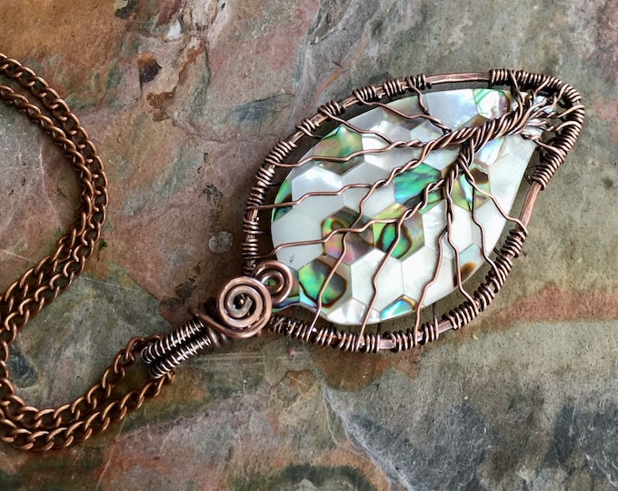 Abalone Tree of Life Necklace, Abalone Shell Leaf Pendant Necklace, Abalone Necklace in Copper Wire,  Wire Wrapped Natural Abalone Jewelry
