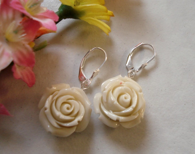 Ivory Cream  Coral Carved Rose flower Sterling Silver Leverback earwire Earrings, Bridesmaid Cream Earrings, Rose Floral Earrings, Bridal