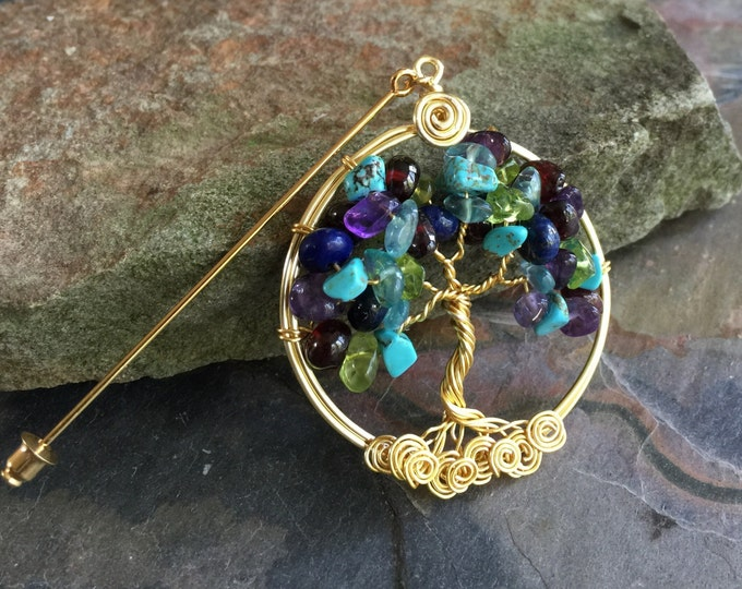 "Custom/Personalized Tree of Life Brooch Pin-Lapel Pin-Family Birthstones Tree Pin, Family Tree of life Brooch, Grandma""s Gift, September"