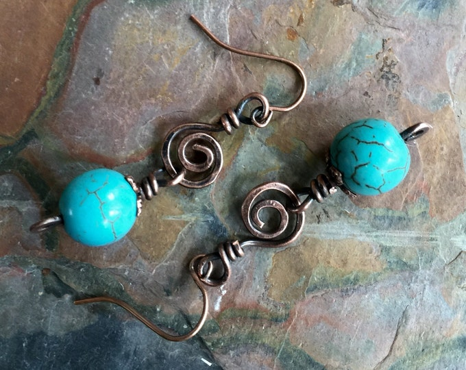 Wire Wrapped Turquoise Copper Earrings, Wired Turquoise Earrings in Antiqued Copper, Turquoise Earrings, Antiqued Copper dangling Earrings
