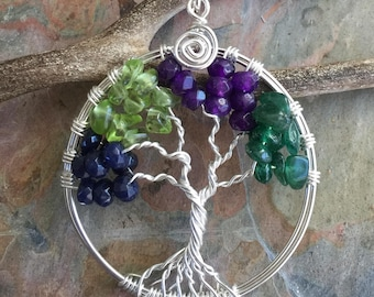 Custom Tree of Life Necklace, Custom Tree of Life sterling silver,Family Tree of Life Pendant Necklace, Birthstone Tree of Life Necklace