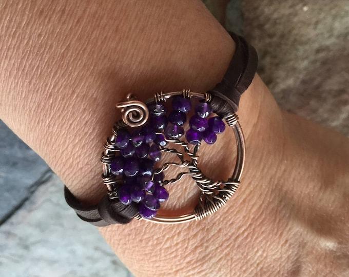 Amethyst Tree of Life Bracelet Leather,Amethyst Tree of Life Bracelet,Custom Tree of Life Leather Bracelet,February Birthstone Tree of Life