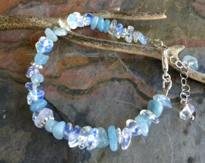Aquamarine /Opalite Bracelet, Wire Wrapped Aquamarine/Opalite Bracelet, March Birthstone Bracelet, Raw Aquamarine gem Bracelet, Opalite