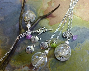 Dandelion Necklace- Dandelion Necklace with Dream, Believe, Hope, Fairy, Cross  Charms- Wish Necklace, Bridesmaid Necklace, Bridesmaid Gift.