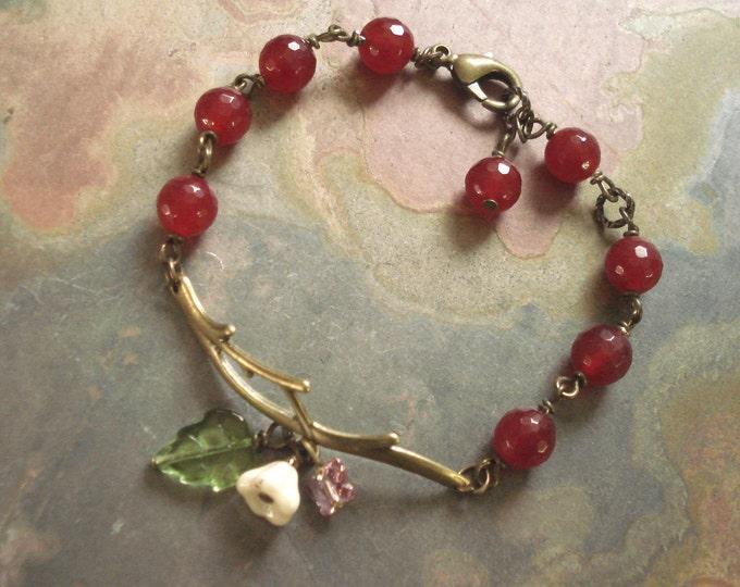 Antiqued Brass Twig Branch Red Jade Flower Bracelet, Red Jade bracelet, twig Bracelet, Twig Jewelry