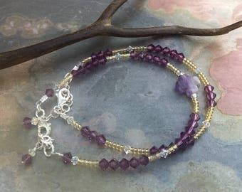 Amethyst Bracelet,Amethyst Cross Crystal Bracelet,February Birthstone Bracelet, Amethyst Jewelry, Amethyst Beaded bracelet