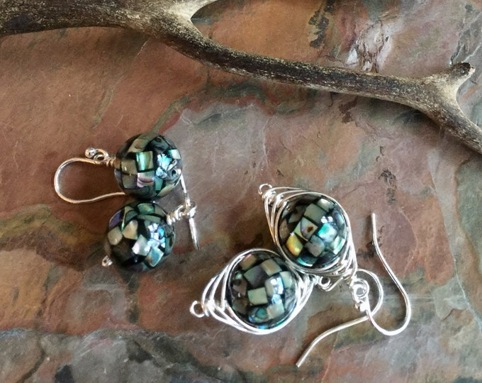 Abalone Earrings, Abalone Dangle/Drop Earrings in Sterling Silver,Abalone Mosaic Silver Earrings,Abalone Shell Earrings, Abalone Jewelry