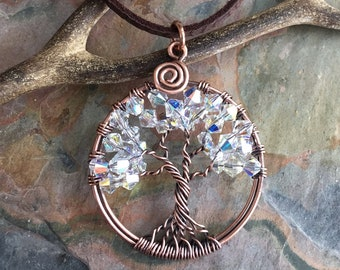 April Birthstone Necklace, Crystal Tree of Life Necklace,-Wire Wrapped Crystal Tree of life Pendant in Antiqued Copper,Mothers day gift