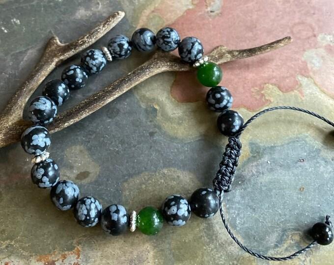 Obsidian Jade  Bracelet,Obsidian Macrame Adjustable bracelet,Obsidian bracelet,Yoga Macrame Bracelet,Healing Adjustable gemstone Bracelet