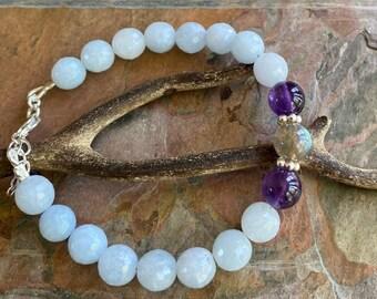 Aquamarine Bracelet,March Birthstone Bracelet Sterling Silver,Aquamarine Labradorite Yoga Healing Adjustable  Bracelet, Aquamarine Jewelry