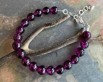 8 mm Tourmaline Bracelet,Pink Tourmaline Bracelet Tourmaline Adjustable Bracelet, Pink tourmaline  bracelet, in Sterling Silver,