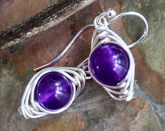 Amethyst Earrings in Sterling Silver,Wire Wrapped February Birthstone Amethyst Earrings, Amethyst Dangle Silver Earrings, Amethyst Jewelry
