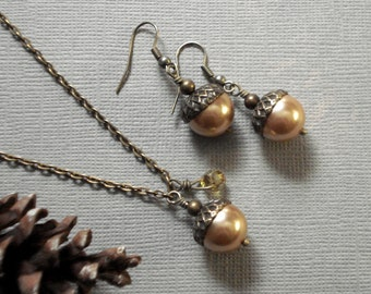 Acorn Golden Pearl Antique Brass Necklace and Earring Set   Autumn   Nature Inspired