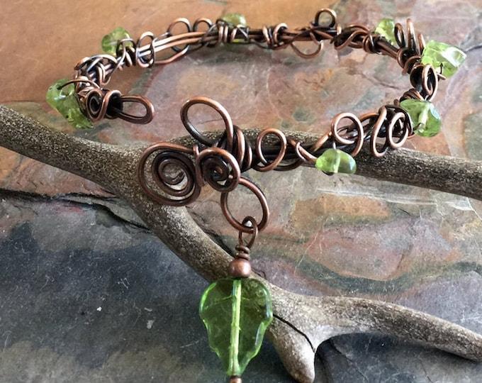 Wire Wrpped Bracelet in Antiqued Copper,Adjustable Peridot  bracelet,August Birthstone,Copper Bangle/Cuff bracelet, Filigree Leaf Bracelet