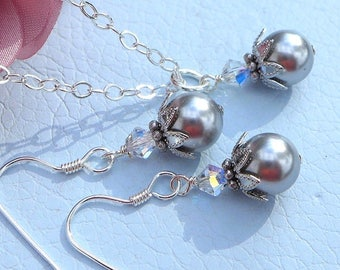 Grey/Gray Pearl Necklace and Earring sets, Swarovski Pearl Necklace, Pearl Earrings, Bridesmaid Pearl Earrings, Bridesmaid Pearl Necklace