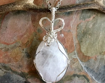 Wire Wrapped Rose Quartz  Pendant Necklace in sterling silver,Pink Rose Quartz Necklace, Sterling Silver Pink Rose Quartz Necklace