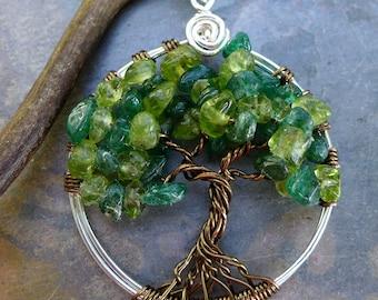 Tree of Life Pendant Necklace-Peridot/DarkJade Tree of Life Necklace,Wire Wrapped Gemstone Pendant, August Birthstone Tree  TLN-PERDJAD-SBPL