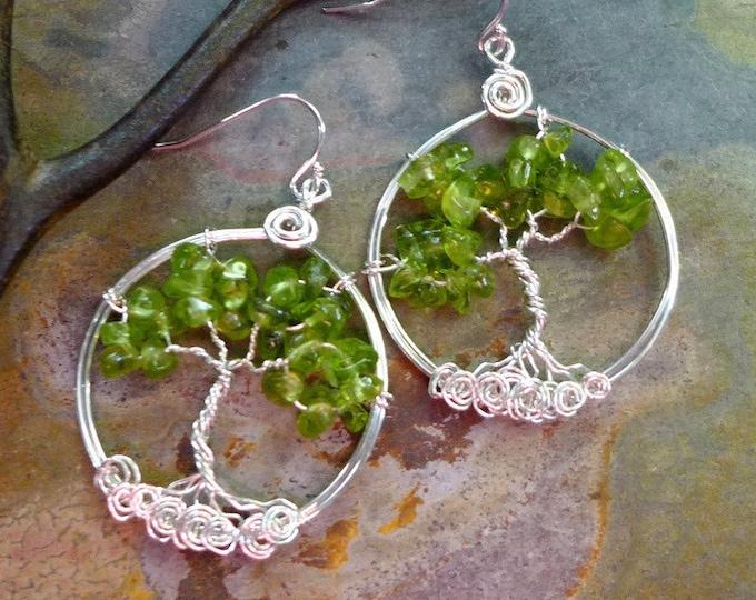 Peridot Tree of Life Sterling Silver Earrings, Green Christmas Peridot Earrings, Peridot Tree of Life Dangle Earrings,August Birthstone Tree