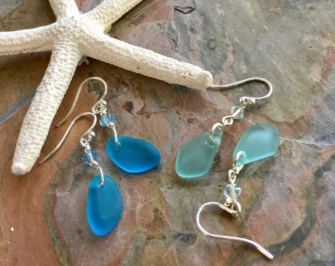 Blue Sea Glass Earrings Sterling Silver, Seafoam Green Sea Glass Earrings, Beach Wedding Jewelry,Blue Dangling earrings, Summer Earrings