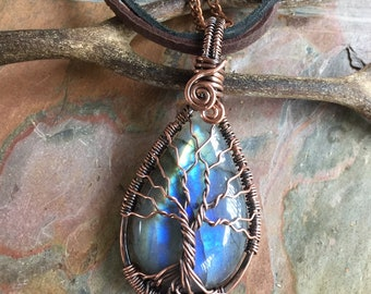 Labradorite Necklace,Wire wrapped Blue Labradorite Tree of Life Necklace,Wire Wrapped Labradorite Tree of Life Antiqued Copper, Labradorite