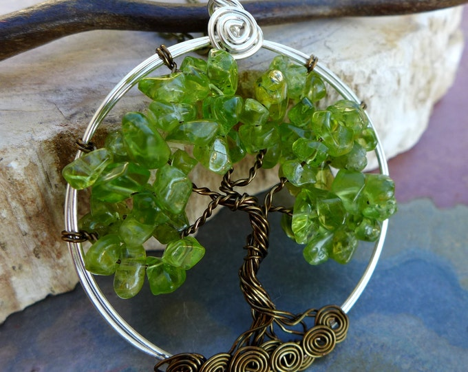 Peridot Tree of Life Pendant Necklace with Chain-Wire Wrapped Peridot Tree of Life Necklace- August Birthstone,