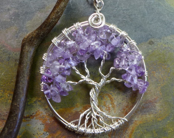 Sterling Silver Petite Amethyst Tree of Life Pendant with Sterling Silver Chain,Wire Wrapped Lavender Amethyst Pendant- February Birthstone