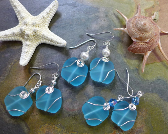 Aqua Blue Sea Glass Earrings in Sterling Silver,Deep Aqua Blue Sea Glass Earrings, Beach Weddings, Aqua Blue  Dangling Silver Earrings